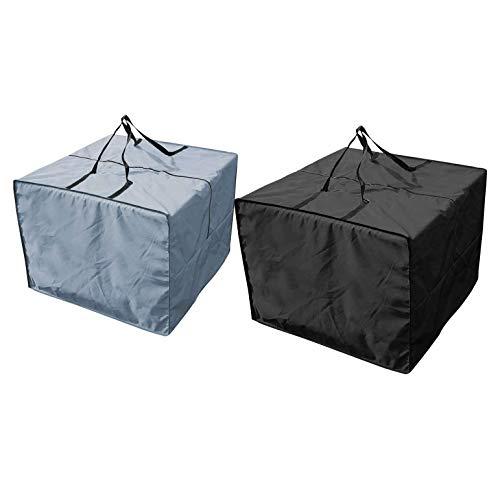 BOINN 2 Uds, Cojines de Asiento para Muebles de Exterior, Bolsa de Almacenamiento, Juego de JardíN Impermeable, Fundas, Bolsa de Transporte, Cuadrado, Gris + Negro, 81X81X61Cm