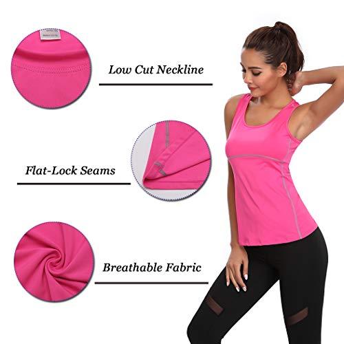 Joyshaper Compression Vest Women Tank Top Quick Dry Fit Sweat Shirt T-Shirt Tee Activewear Sleeveless Sports Workout Athletic Fitness Running (Hot Pink, Medium)