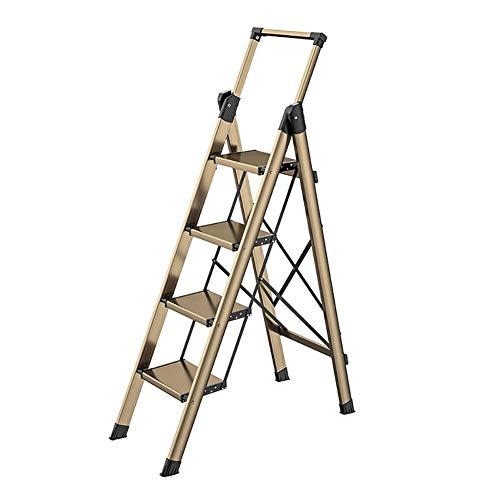 CRZJ Escalera Plegable de 4 Peldaños, Apoyabrazos Telescópico - Escaleras de Paso de Acero de Home Depot Ligeras 150 Kg de Capacidad con Empuñadura Antideslizante Y Pedal Ancho