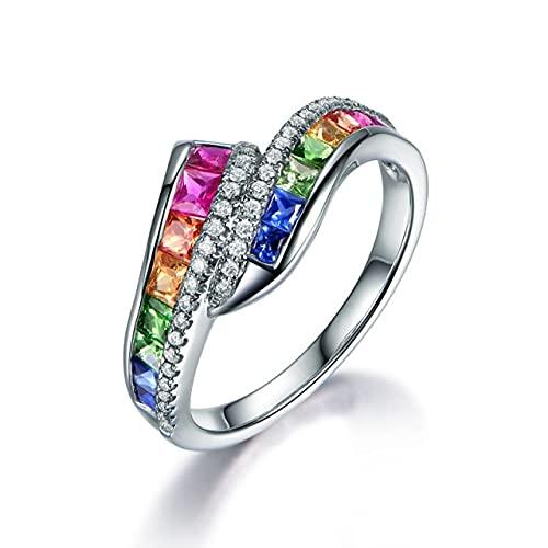 DJMJHG Geometría Plata 925 Joyería Colores Anillo de Piedras Preciosas para Mujer Estilo Especial Arco Iris Moda Anillos de Fiesta Femeninos Regalo 8 Plata