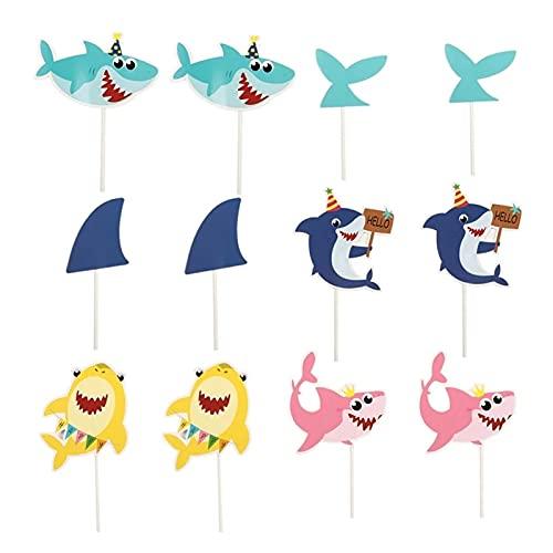 Yulakes 28 Stück Fisch Cupcake Topper,Shark Cake Cupcake Tortenstecker ,Unterwasser Partyzubehör Angeln Thema Party Kuchen Topper Picks für Baby Shower Ozean Party Deko