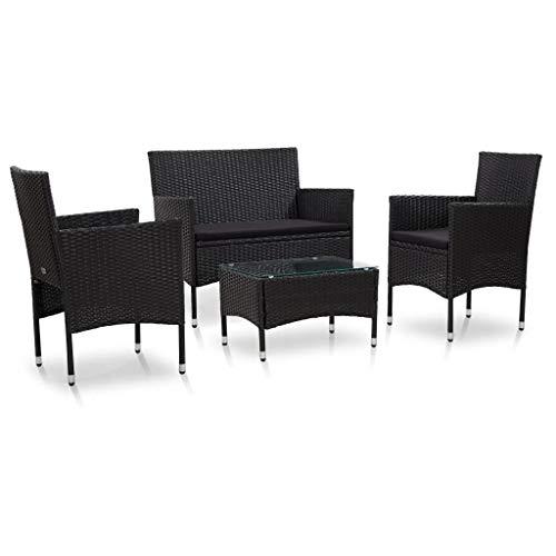 vidaXL Gartenmöbel 4-TLG. mit Auflagen Sitzgruppe Lounge Sofa Sessel Sitzgarnitur Gartenset Gartensofa Garnitur Set Poly Rattan Schwarz