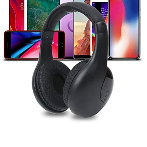 TinaDeer 5 in 1 Headset Drahtlose Kopfhörer Schnurlose RF-Headset-Kopfhörer Für TV-DVD-PC, Kopfhörer Kabelloses, Computer Headset, Kabelloses Chat Monitor Headset, Batterien Nicht Enthalten (Schwarz)
