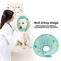 ペットアンチバイトプロテクター、ストレス解消調整可能なペット快適コーン、犬猫ペットの創傷保護用(S)