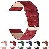 Fullmosa 6 Colores para Correa de Reloj, Cross Piel Correa Huawei Samsung Correa/Banda/Band/Pulsera/Strap de Recambio/Reemplazo 18mm 20mm 22mm 24mm,Rojo 20mm