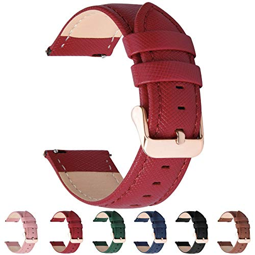 Fullmosa Cinturino per Orologio, Cross Cinturini in Pelle 20mm, Cinturino Orologio per Huawei iWatch 2/Samsung Galaxy Watch 42mm/Samsung Gear S2 Classic/Amazfit Bip, per Uomo/Donna, 20mm Rosso