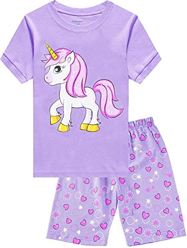 Little Hand Kinder Schlafanzug Mädchen Kurz Sommer Nachtwäsche Zweiteilig Einhorn Flamingo Katze Kurzer Pyjamas Baumwolle 92 98 104 110 116 122
