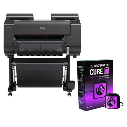 """Canon imageprograf pro-2000 24"""" professional large-format inkjet photo printer, 2400x1200 dpi, usb 2. 0, ethernet & wi-fi - with x-rite colormunki accurate monitor display calibration pink"""