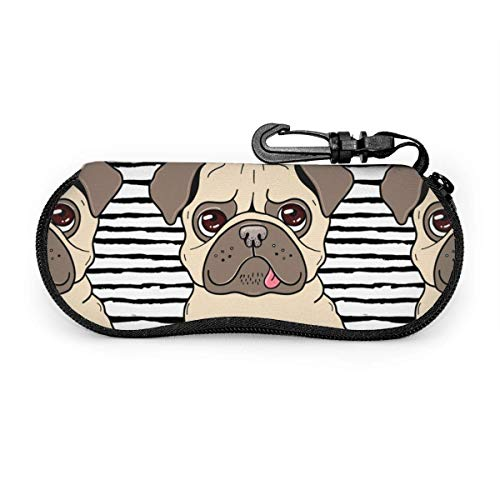 sherry-shop Étui à lunettes de soleil Funny Happy Pug Dog Travel Soft Neoprene Zipper Eyeglass Bag