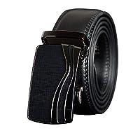 メンズベルト 男性の自動バックルベルトクリスマスギフトシンプルで耐久性のためにビジネスミーティングのための調節可能なベルト 調整可能 (色 : Black, Size : 125cm)