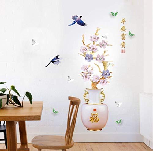 Muurstickers Plum Blossom Vaas Chinese Stijl Bloemen Home Decor Goede Betekenis Kunst Behang Vogel Decoratieve Vinyls voor Muren