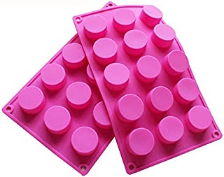 BAKER DEPOT 15 Holes Cylinder Silicone Mold for Handmade soap Jelly Pudding Cake Baking Tools Biscuit Molds Hole Dia: 1.58 inch Vol: 20ml Set of 2