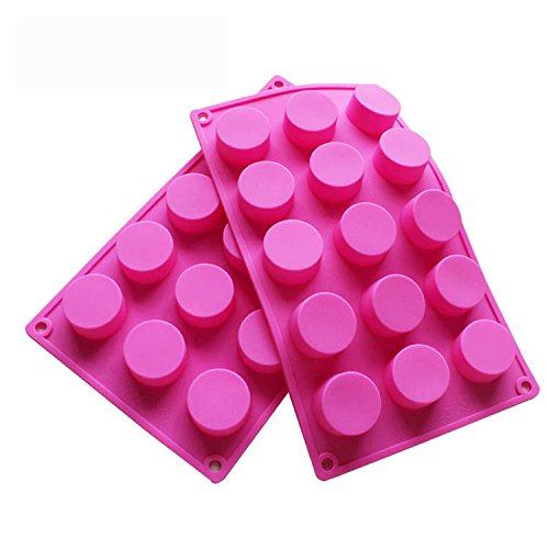 BAKER DEPOT 15 Holes Cylinder Silicone Mold For Handmade soap Chocolate Cookie jelly Pudding Cake Baking Tools Biscuit Molds Hole Dia: 1.5 inch Vol: 20ml Set of 2