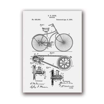 Fahrrad Kunstwerk Fahrrad Wandkunst Leinwand Malerei Poster Schlafzimmer Dekoration Kreative Wanddekoration A4 21x30cm