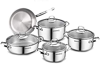 Korkmaz Bella 9 Piece Stainless Steel Cookware Set A1083
