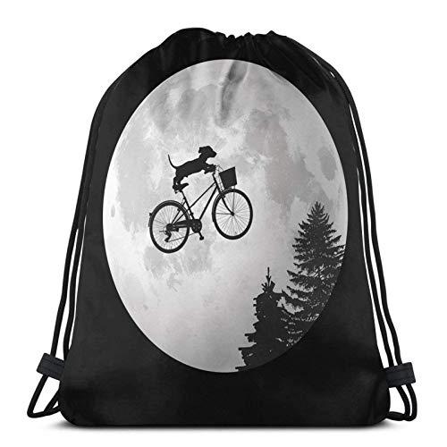 LREFON Dachshund Biking Past The Moon Mochila Deportiva Mochila con cordón Bolsa de Gimnasio Saco