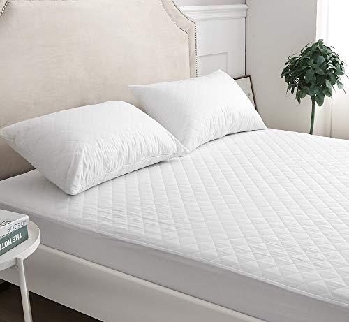mTextile Poly-bomull kviltat madrassskydd 30 cm djupt monterad enkel dubbelsäng super king våningssäng 4 fot säng (super king)