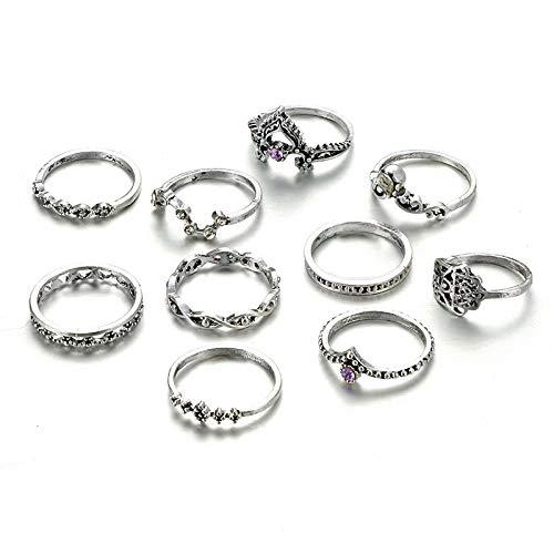 Jaminy - Lote de 10 anillos de verano para mujer, diseño retro de calavera con óxido
