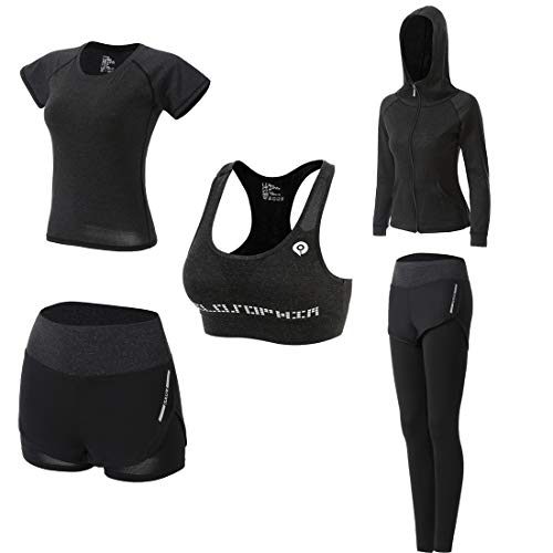 Workout Outfit Set for Women Yoga Exercise Clothes with Sport Bra Shorts Leggings Jacket(Gray, S)