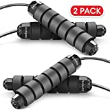 Swhatty 2 Pack Jump Rope, Tangle-Free with Ball Bearing Rapid Speed Skipping Rope for Workout...