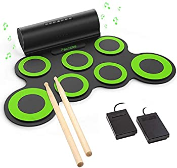 PAXCESS Electronic Drum Set Roll Up Drum Practice Pad Midi Drum Kit with Headphone Jack Built-in Speaker Drum Pedals Drum Sticks 10 Hours Playtime Great Holiday Birthday Gift for Kids