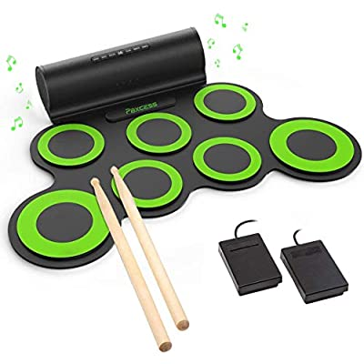 PAXCESS Electronic Drum Set, Roll Up Drum Pract...