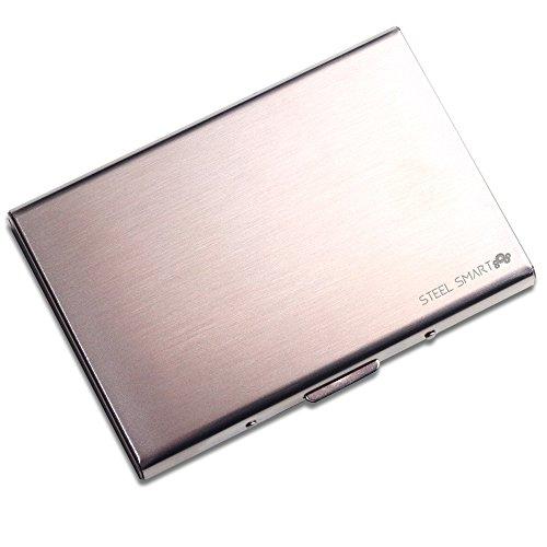 Steel Smart RFID-Schutzhülle für Kreditkarten, Bankkarten, Kundenkarten, Ausweis – Visitenkartenetui aus gebürstetem Edelstahl - Geldbörse für Damen und Herren – silber