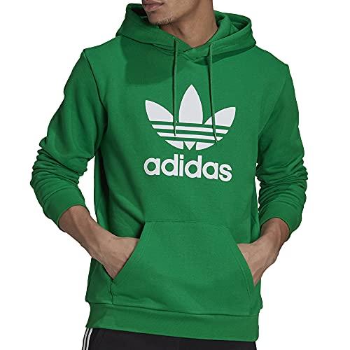 adidas Trefoil Hoody Felpa con Cappuccio, Green/White, XL Uomo