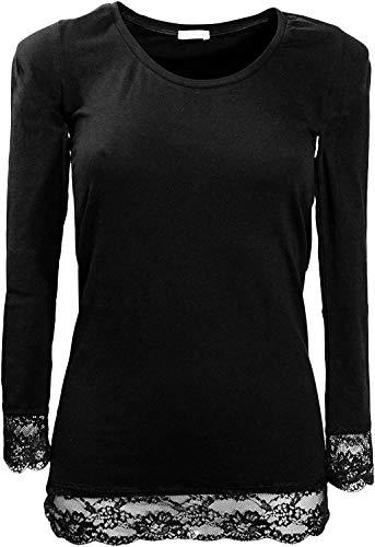 maglia manica lunga donna scollo lollo con pizzo cotone elasticizzato JADEA art. 4268 nero (L/XL)
