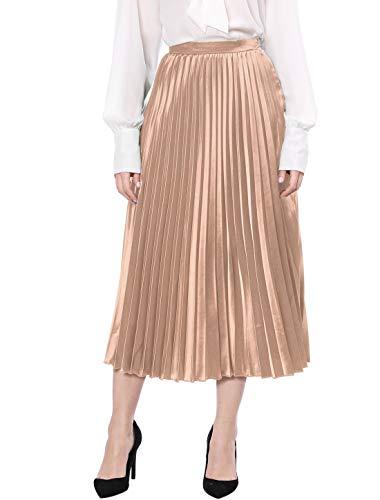 Allegra K Women's Zip Closure Party Accordion Midi Metallic Pleated Skirt X-Large Flesh Pink