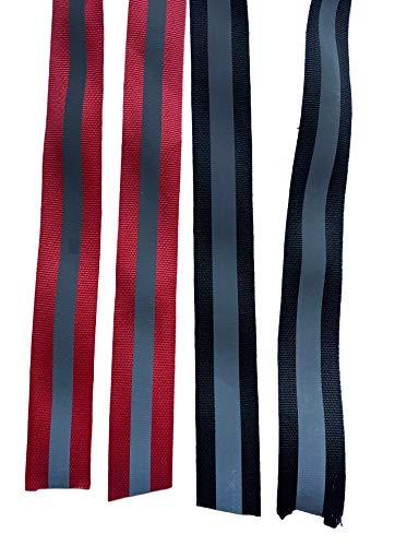 300cm reflecterende band - rood/zwart zilver sterk reflecterende stofband voor veiligheidskleding, broeken, jassen per meter om aan te naaien 2.5cm breed (kleur selecteerbaar), 300cm Schwarz/Silber, 1