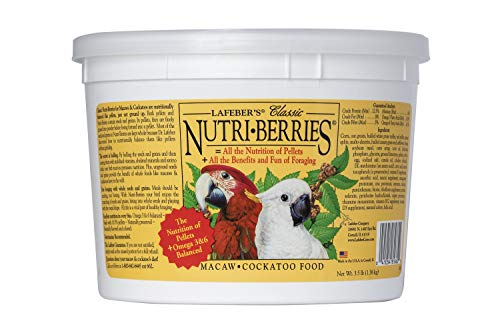 LAFEBER'S Classic Nutri-Berries Pet Bird Food, Made with Non-GMO and Human-Grade Ingredients, for Macaws and Cockatoos