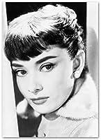 黒と白のオードリー・ヘップバーンの古典的な瞬間は、映画ファンのギフトのための美しいエレガントな女性の絵壁のアートポスターHDプリントを描くキャンバス、フレームレス,40×60cm