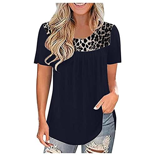 VEMOW Blusas y Camisas Manga Corta Para Mujer, Suelta Camisa Blusa Elegante Vintage de Cuello Redondo con Estampado de Costura de Leopardo Túnica Tops Jersey Largo Shirts Streetwear(A Armada,L)