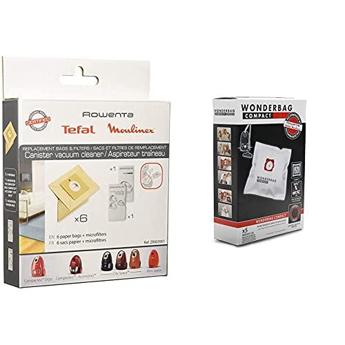 Rowenta Zr003901 6 Filtri Di Carta + 1 Microfiltro & Wb305120 Set 5 Sacchi Wonderbag Compact Universali Per Aspirapolvere