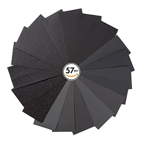 augtouf 57 Pcs Sand Paper Wet Dry Assortment, Variety Fine Sandpaper for Wood, Metal, Resin, Automotive, Plastic from 40-2000 Grit Multi Purpose - 9x3.6 Inches