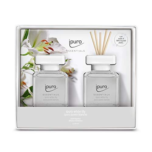ipuro Essentials Raumduft white lily 2x50ml – hochwertiger Lufterfrischer - Raumduft-Set für ein blumig-zartes Raumklima – umweltfreundliches Design