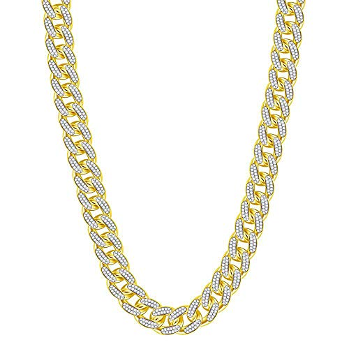 The Diamond Deal 10kt Yellow Gold Mens Round Diamond Cuban Link Chain Necklace 13-1/5 Cttw
