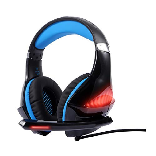 Gaming Headset Xbox One Headset with 7.1 Surround Sound Stereo, PS4 Headset with Noise Canceling Mic & LED Light, Compatible with PC, PS4, Xbox One Controller,Blue Headsets