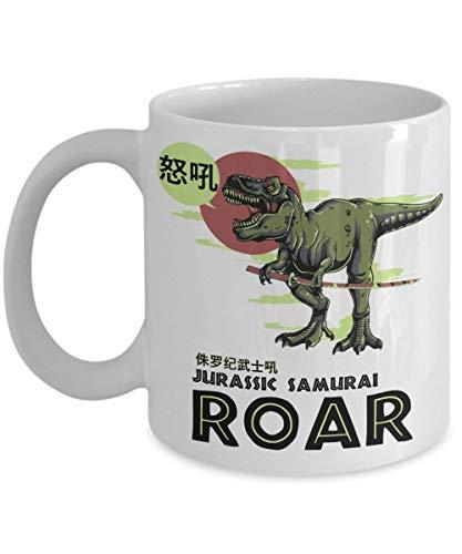 Porcelain Cup Dinosaurio Jurassic Samurai Roar T-Rex Con Katana Compañero De Trabajo Taza De Café Taza De Cerámica 330 Ml Taza Familiar Unisex Porcelana De Moda Amigos Para Jugo Le