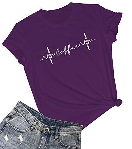 YITAN Women Graphic Casual Tops Cute Printed Tee Shirts Purple Large