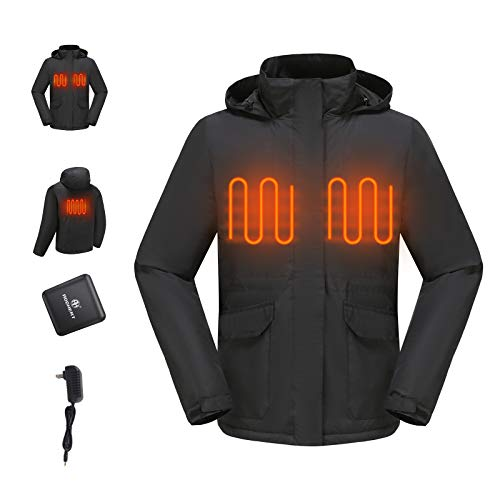 Motorcycle Heated Jacket, Electric Rechargeable Battery Heating Warmer Clothes jackets Waterproof Hooded Coat Liner Apparel for hunting Riding Wind Snow Ski Winter for Men Outside Travel | Black, L