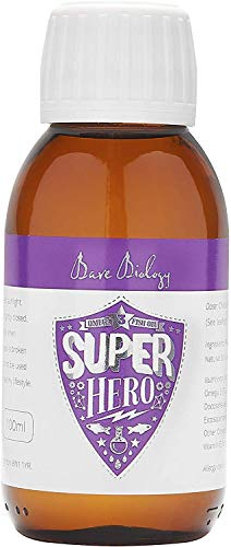 Bare Biology Super Hero DHA Omega 3 Fish Oil for Kids - Optimum Support for Brain & Eyes - from 6 Months Old - Super Strength/Made from Sustainably Caught Fish (100ml)