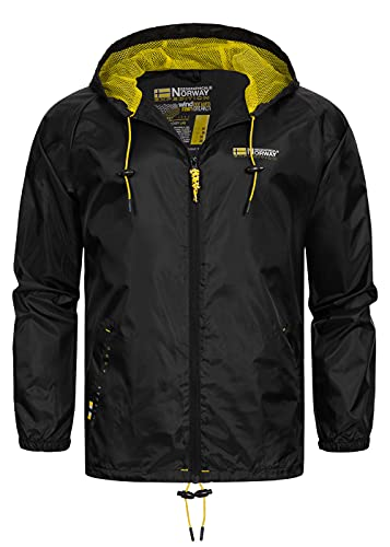 Geographical Norway Chaqueta impermeable para hombre (Negro, L)