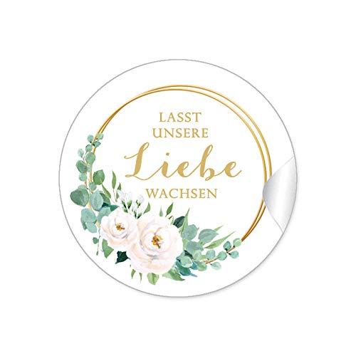 72 STICKER Lasst unsere Liebe wachsen Etiketten als Gastgeschenk mit weißen Rosen und Ringe in Goldgelb kein Echtgold für Samen Tüten Reagenzgläser Blütensamen zur Hochzeit Geburtstag Taufe