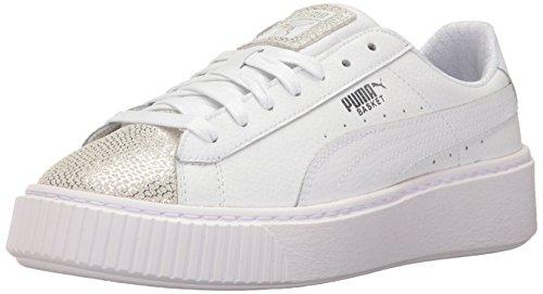 PUMA Girls' Basket Platform Glitz Kids Sneaker, White, 6 M US Big