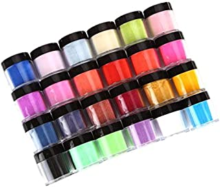 Nail Powder Set, 18 Colors Acrylic Nail Art Tips UV Gel Powder Dust Design Decoration 3D Manicure Neon Pigment Nail Powder Colorful Nail Art Decoration (B)