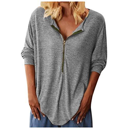 Janly Clearance Sale Tops para mujer, moda para mujer, con cremallera y cuello en V, manga larga, blusa suelta, blusa informal para Navidad (gris-5XL)