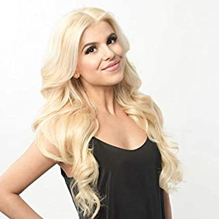 FUHSI Kanekalon Futura Fiber Real Natural For Women–Soft&Smooth, Body Wave 13×6 Inch Lace Front Wig,Elastic Straps,Comfortable & Adjustable For Perfect Fit –613# Blonde 250D 22
