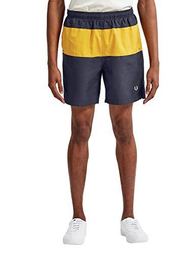 Fred Perry Uomo Shorts Nuoto con Pannelli S3501 608 Blu Marino L